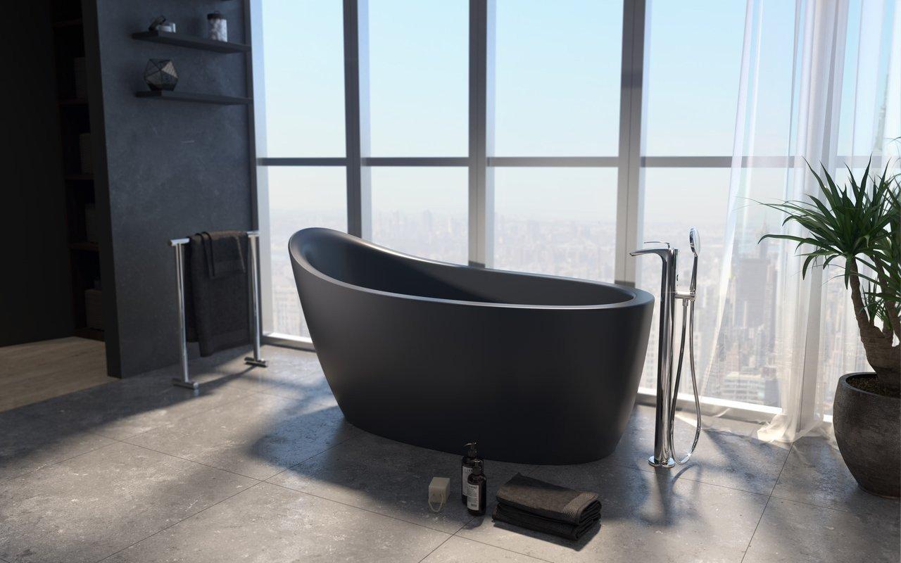 Aquatica Emmanuelle 2 Black Freestanding Solid Surface Bathtub