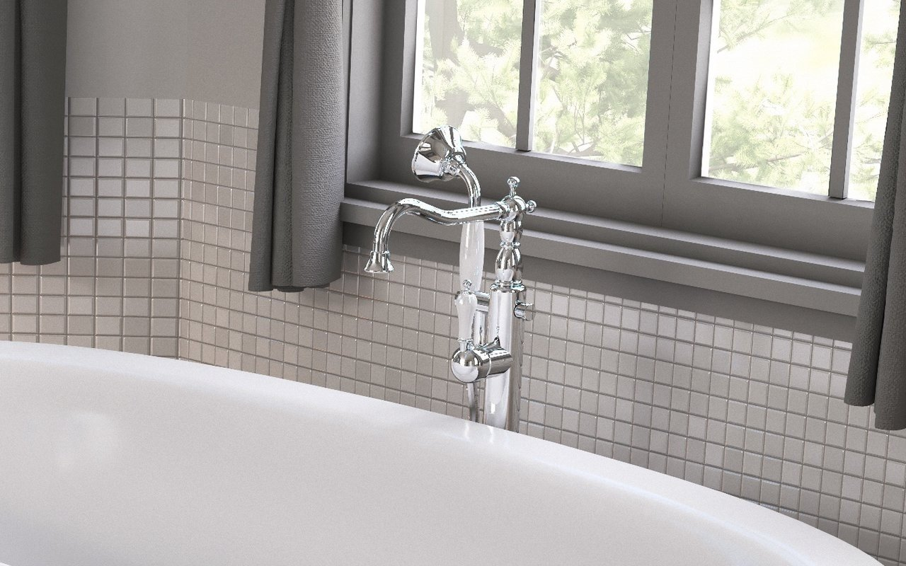 Aquatica Caesar Faucet – Floor Mounted Tub Filler – Chrome