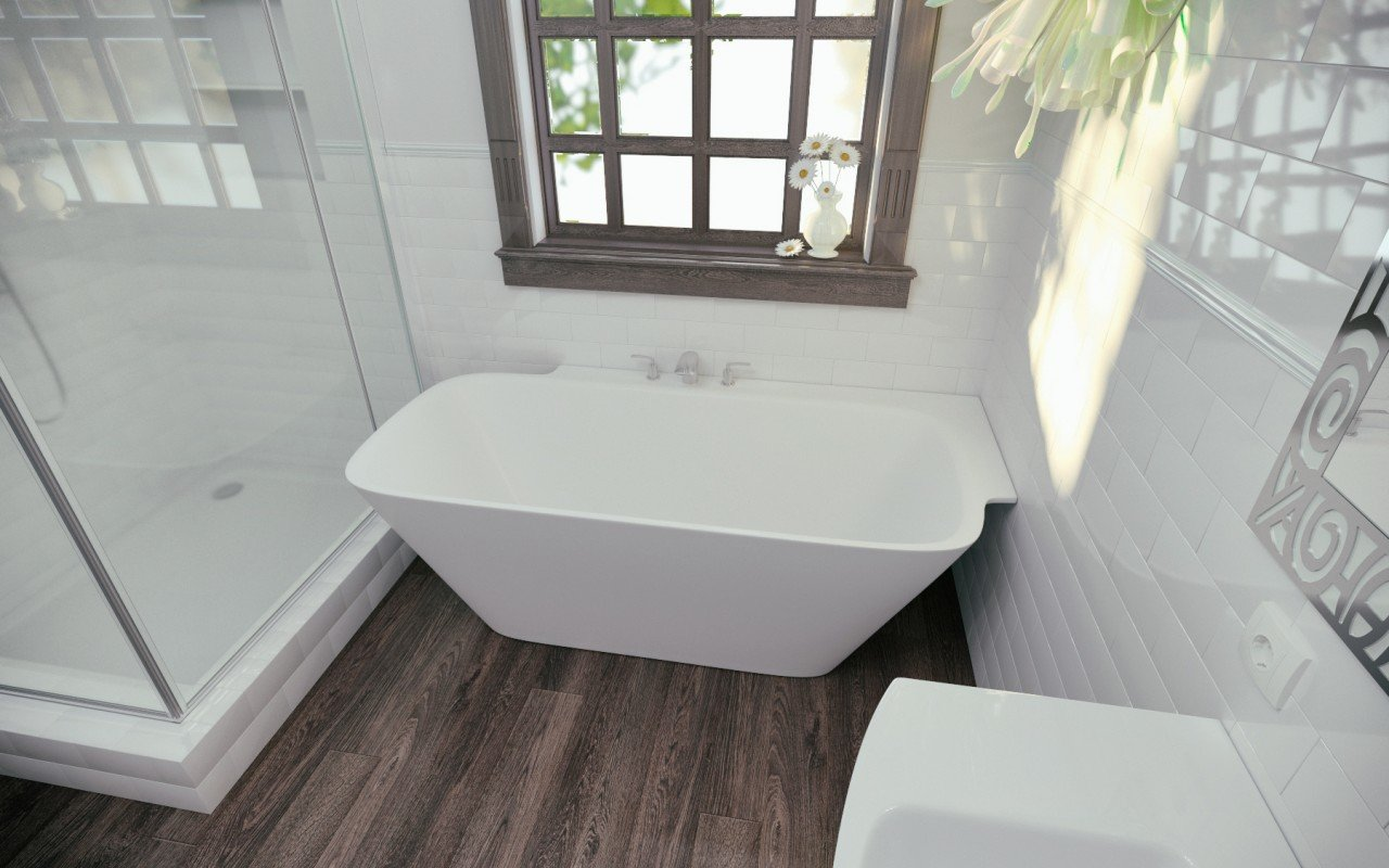 Arabella L Wht Corner Solid Surface Bathtub (1)