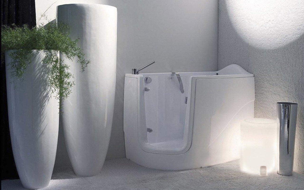 Aquatica baby boomer l corner soaking walk in bathtub for Walk in tub water capacity