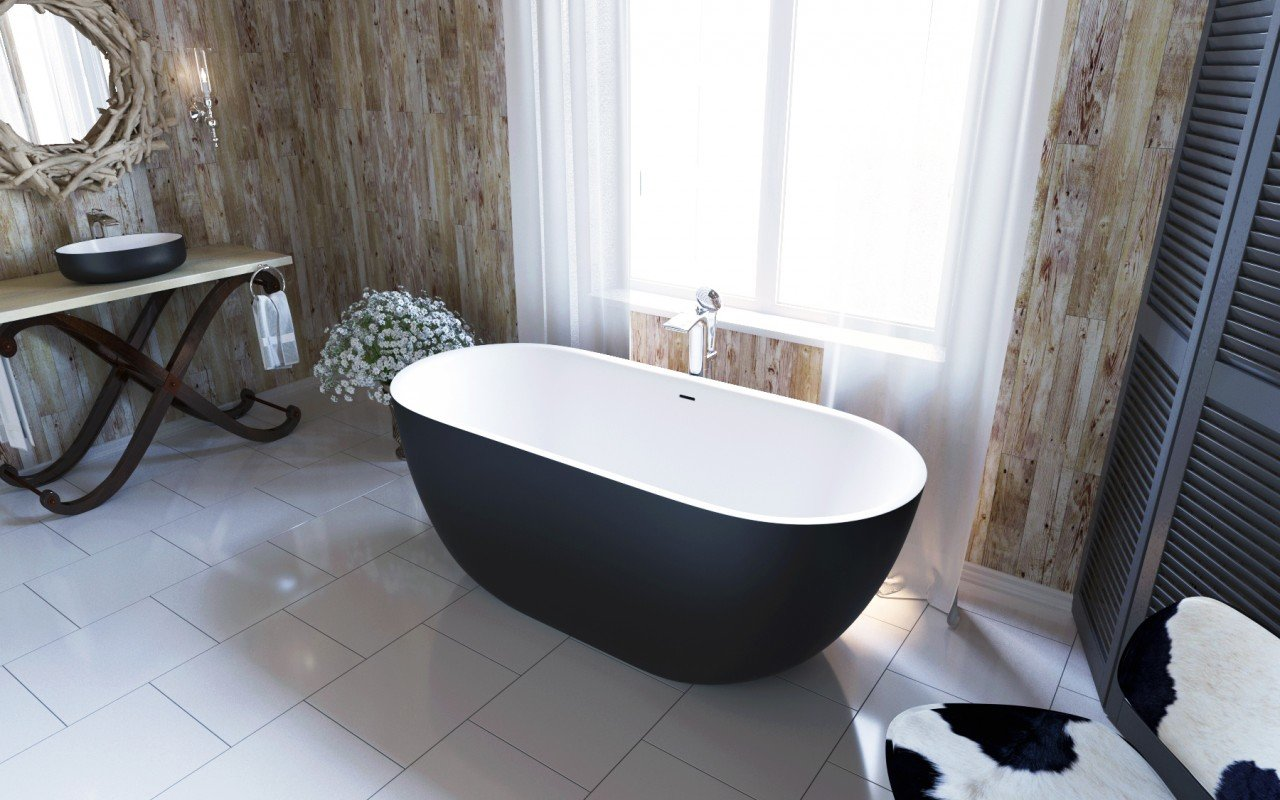 Corelia Black Wht Freestanding Stone Bathtub (2)