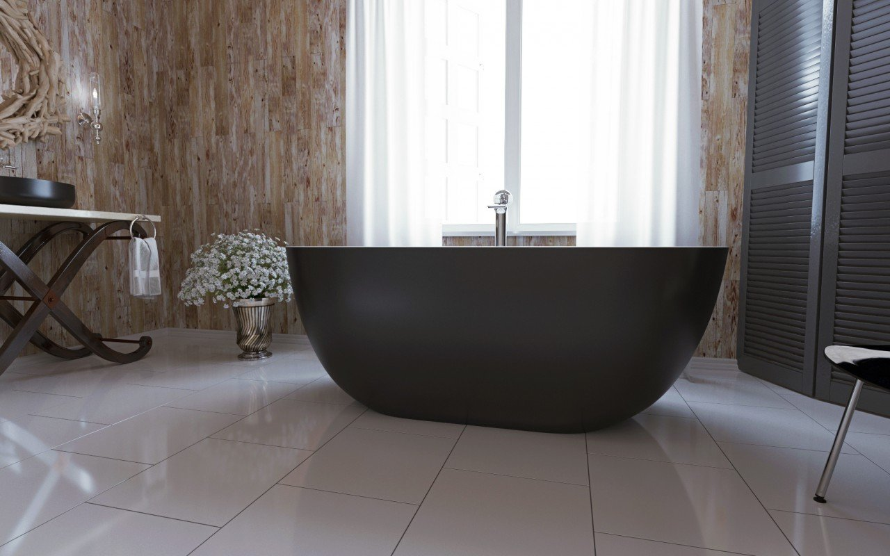 Corelia Black Wht Freestanding Stone Bathtub (3)