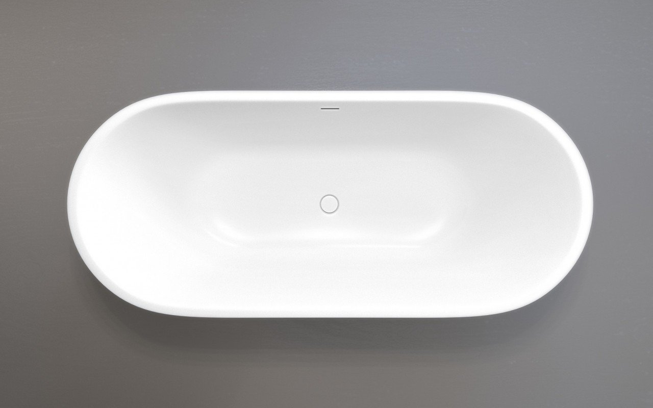 Corelia Wht Freestanding Stone Bathtub top view web
