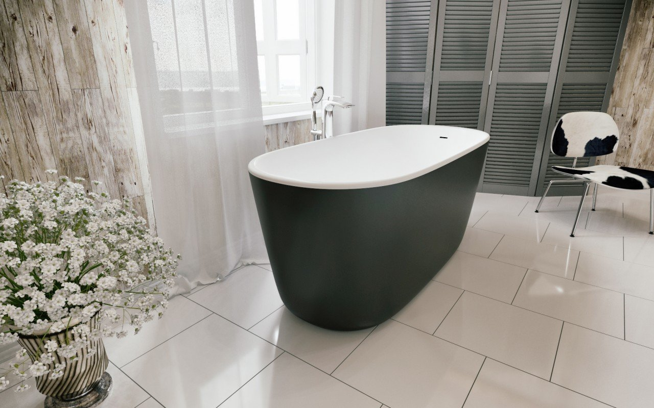 Lullaby Mini Blck Wht Freestanding Solid Surface Bathtub by Aquatica web (5)