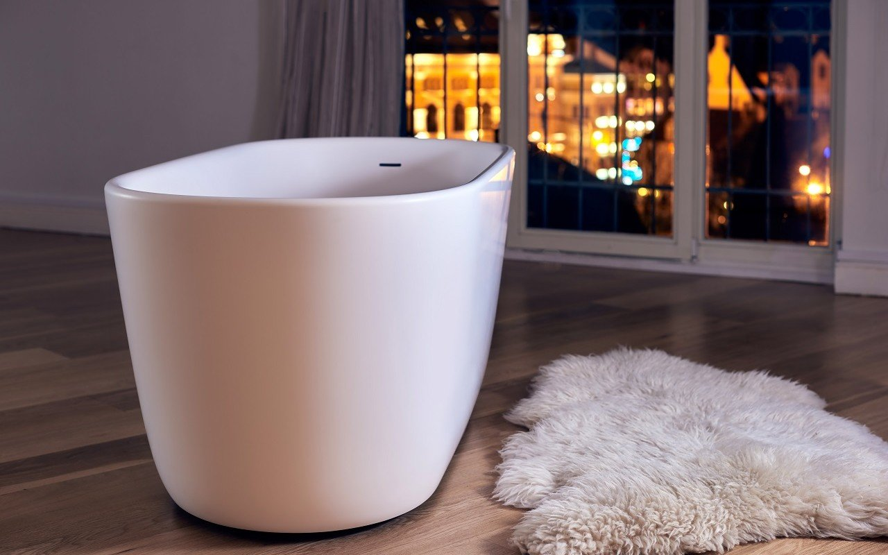 Lullaby Wht Small Freestanding Solid Surface Bathtub by Aquatica web 0041