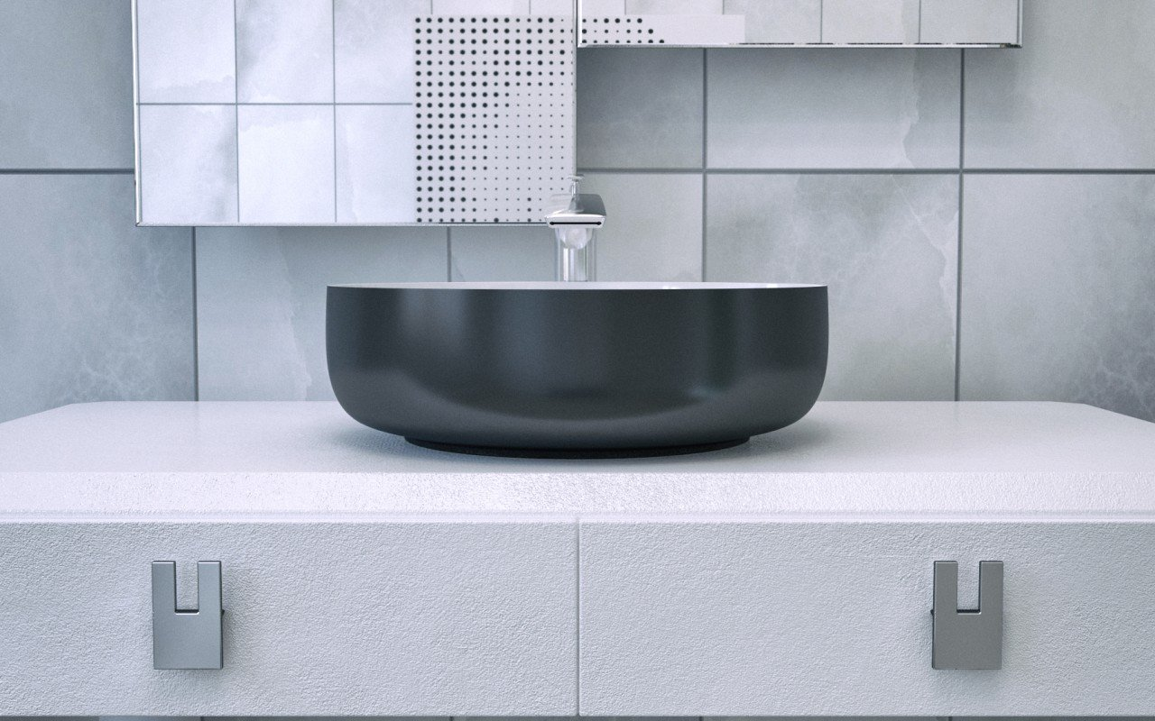 Metamorfosi Black Wht Round Ceramic Vessel Sink (2)