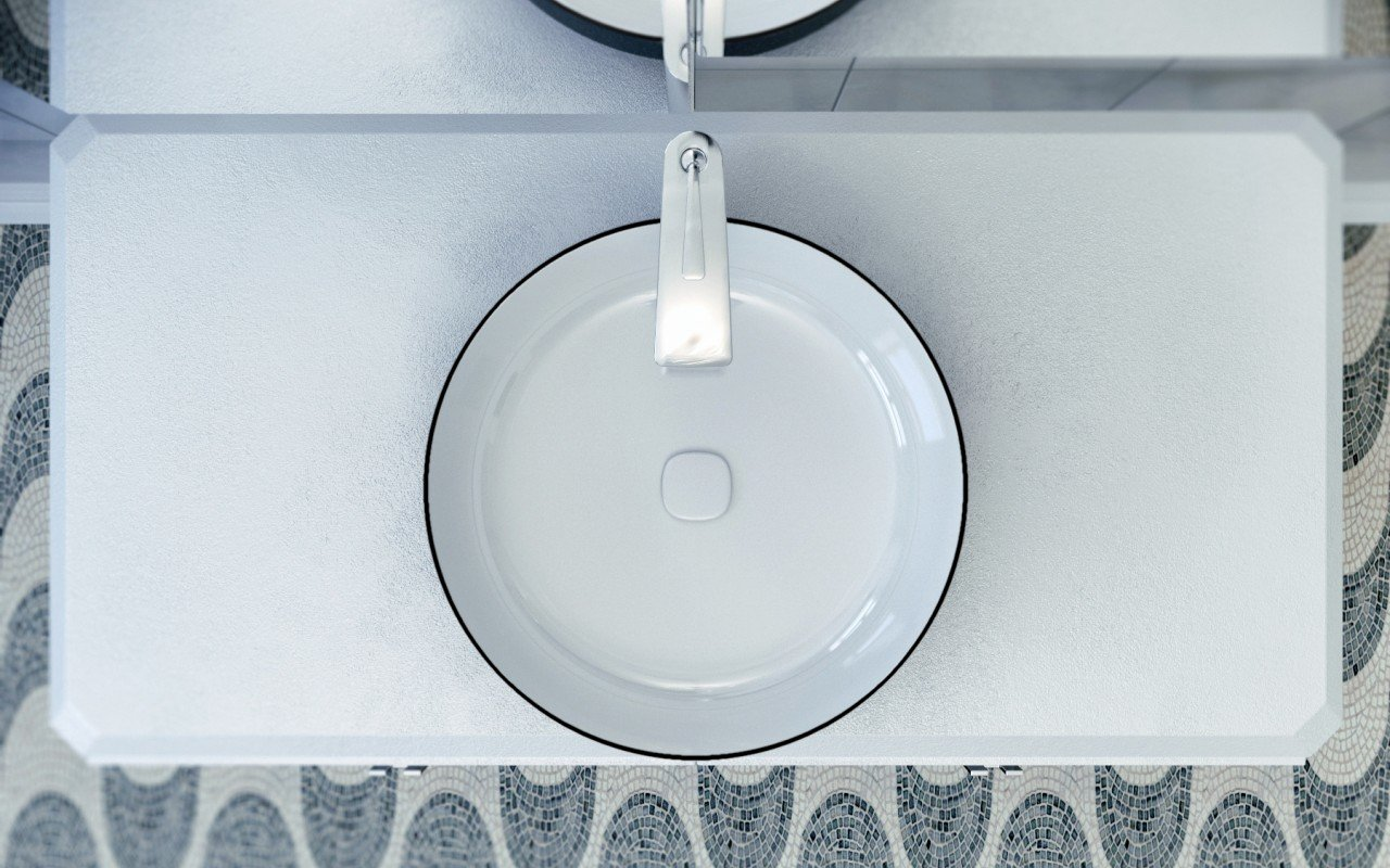 Metamorfosi Black Wht Round Ceramic Vessel Sink