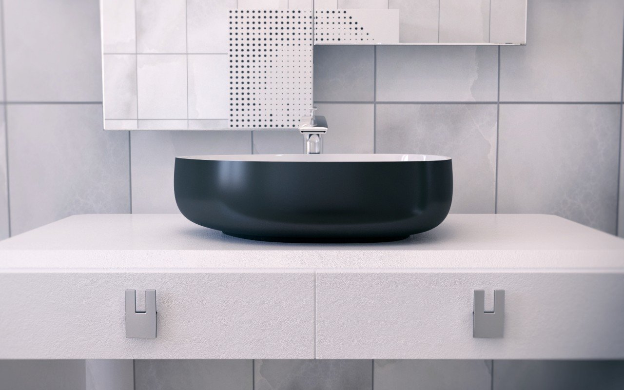 metamorfosi black wht shapeless ceramic bathroom vessel sink 2