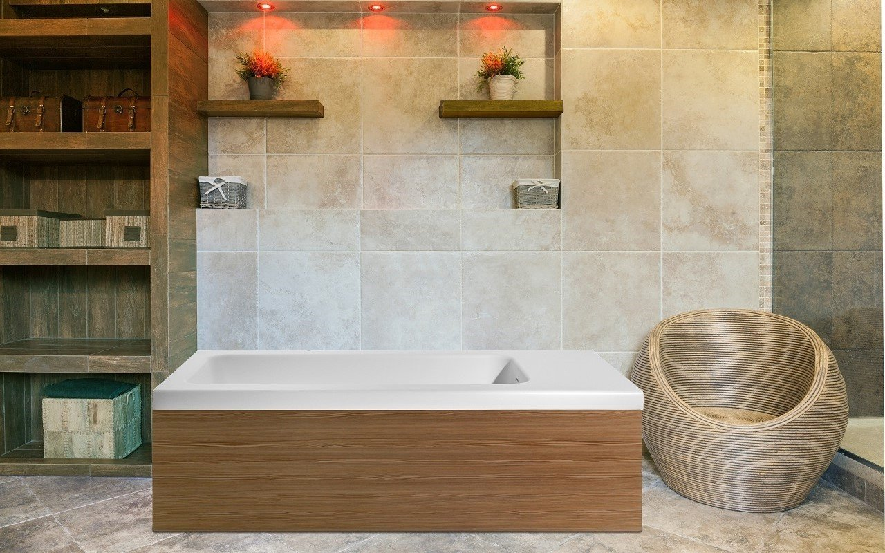 Pure 2L Back To Wall Solid Surface Bathtub With Light Decorative Wooden  Side Panels