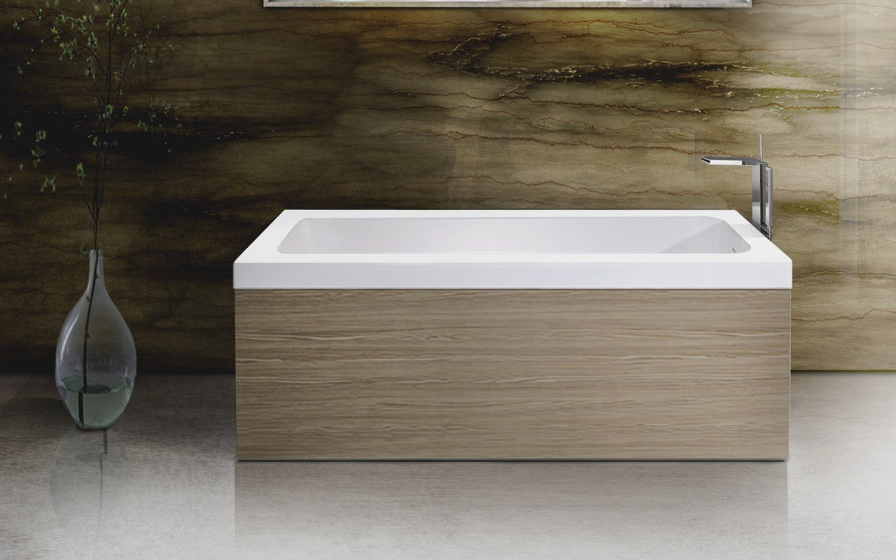 Marvelous Pure 1L Back To Wall Solid Surface Bathtub With Light Decorative Wooden  Side Panels