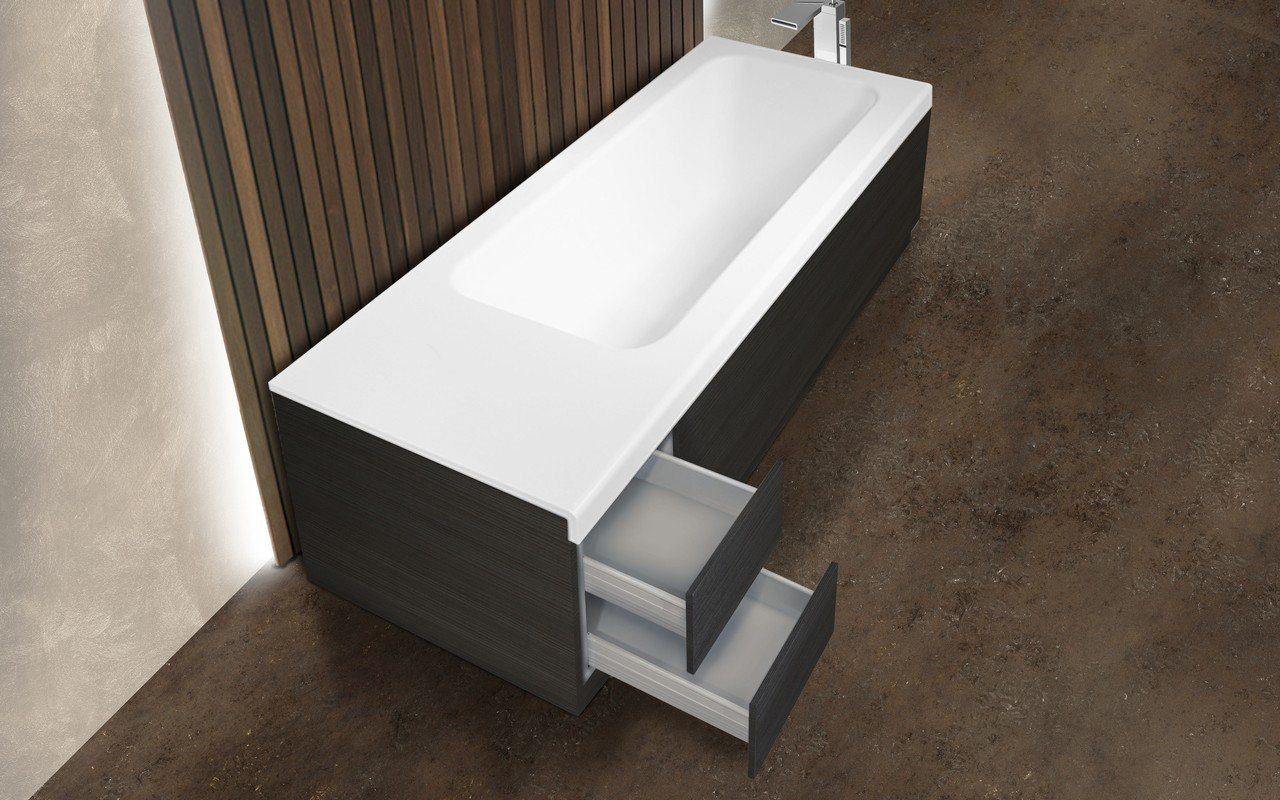 Pure 2d Back To Wall Solid Surface Bathtub With Dark