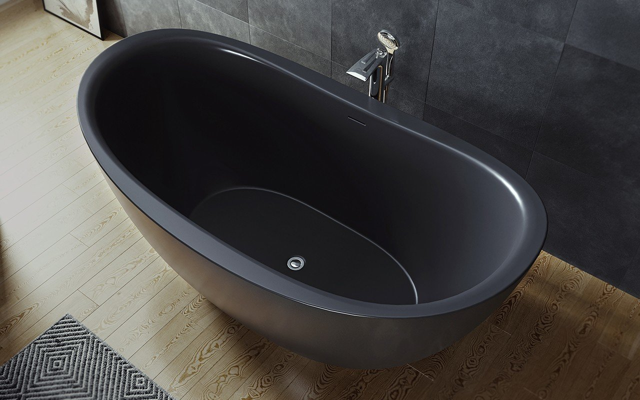 Purescape 171 Black Freestanding Slipper Bathtub web (2)