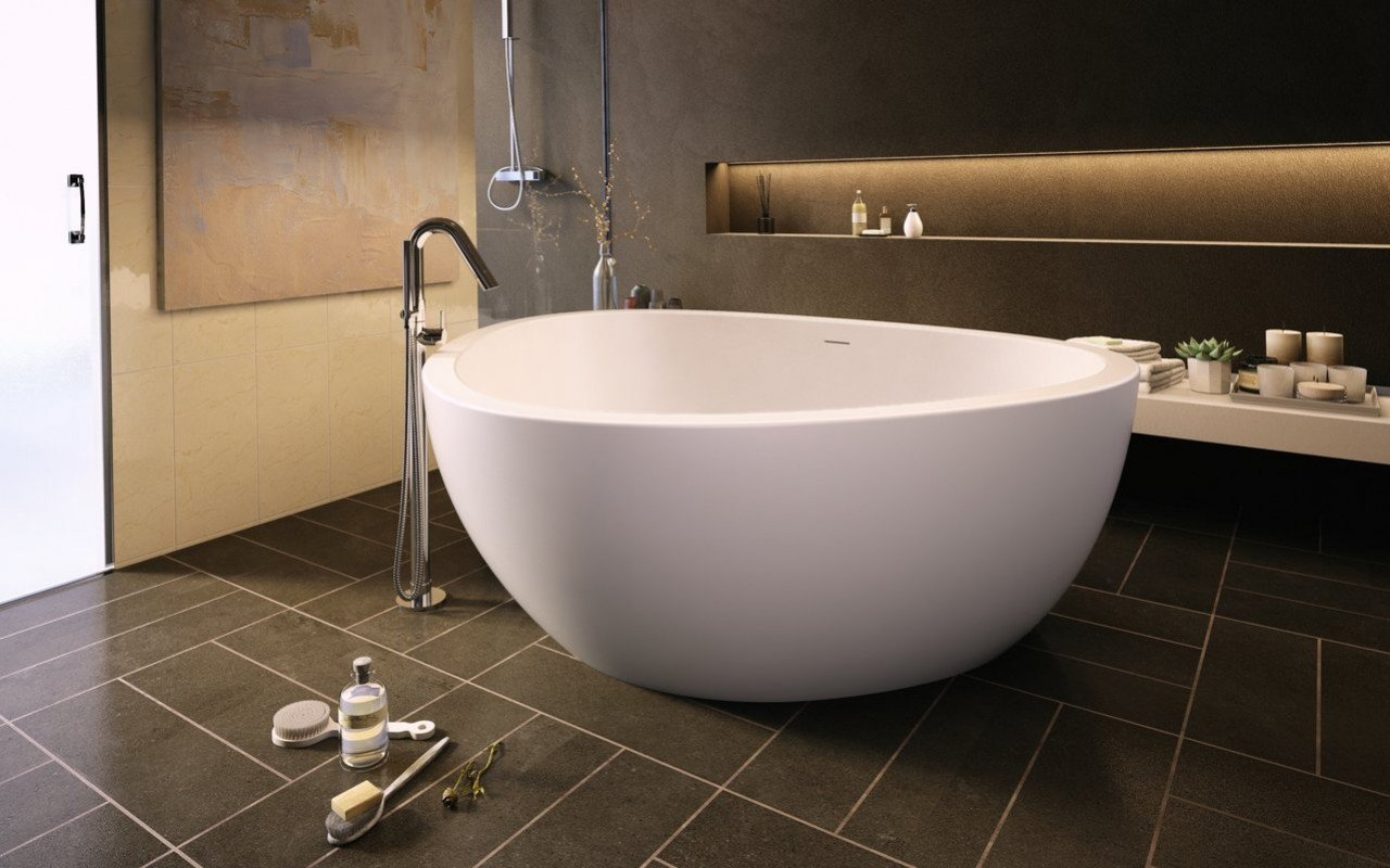 Trinity wht freestanding light weight cast stone bath fine matte by Aquatica 01 1 (web)