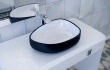 Metamorfosi Black Wht Shapeless Ceramic Bathroom Vessel Sink (1)