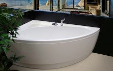 Aquatica idea l wht corner acrylic bathtub for Steel bath vs acrylic
