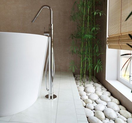Colonna 120 Floor Mounted Tub Filler by Aquatica