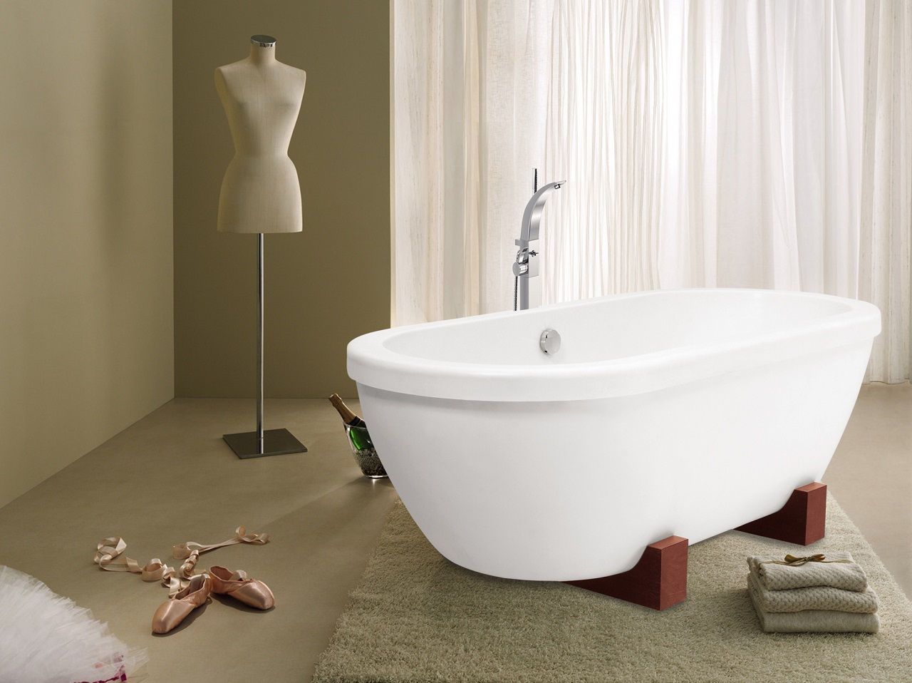 AdoreMe Wht Freestanding Light Weight Stone​ Bathtub by Aquatica web 1