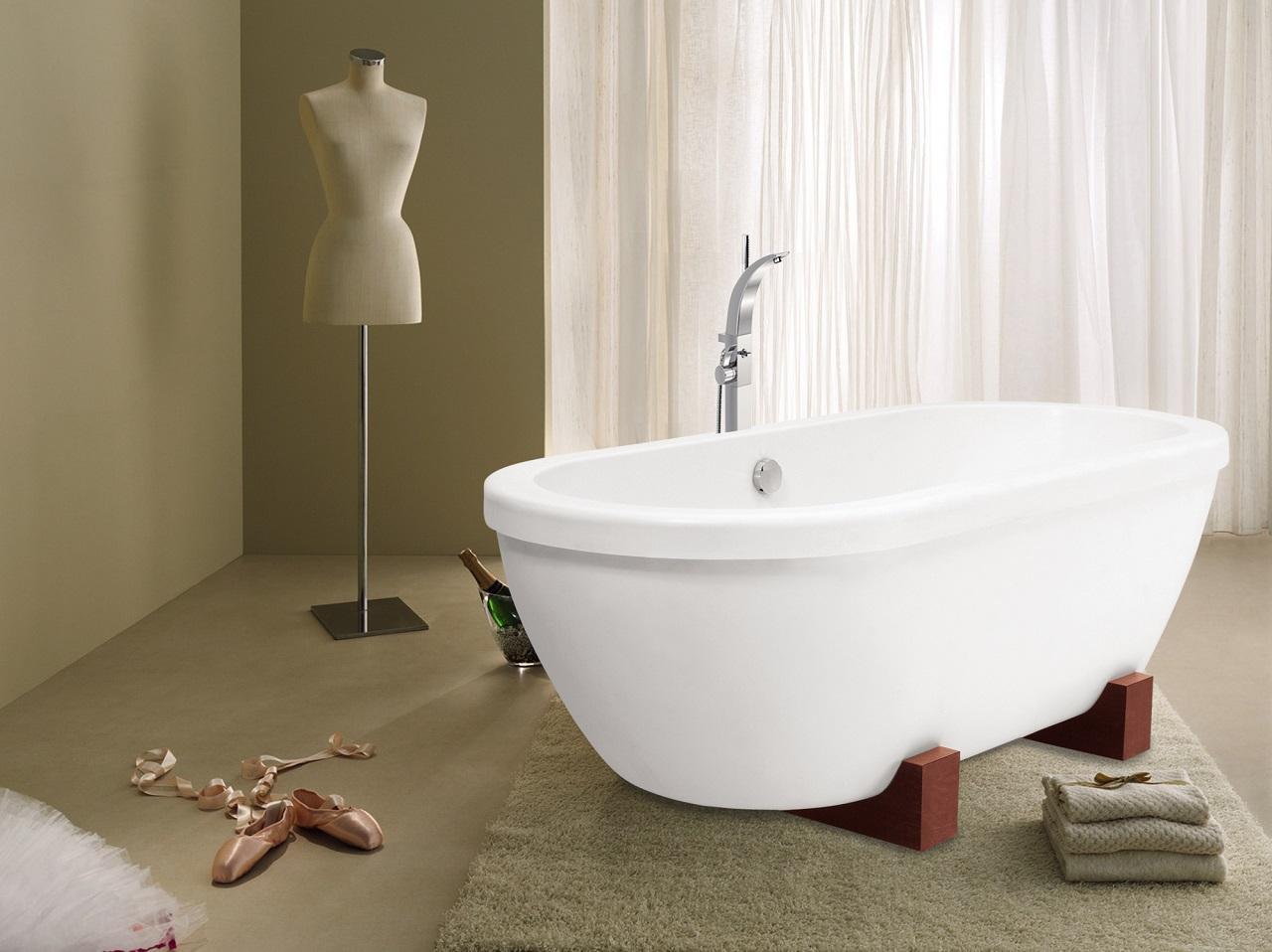 Aquatica AdoreMe-Wht Freestanding Light Weight Cast Stone Bathtub
