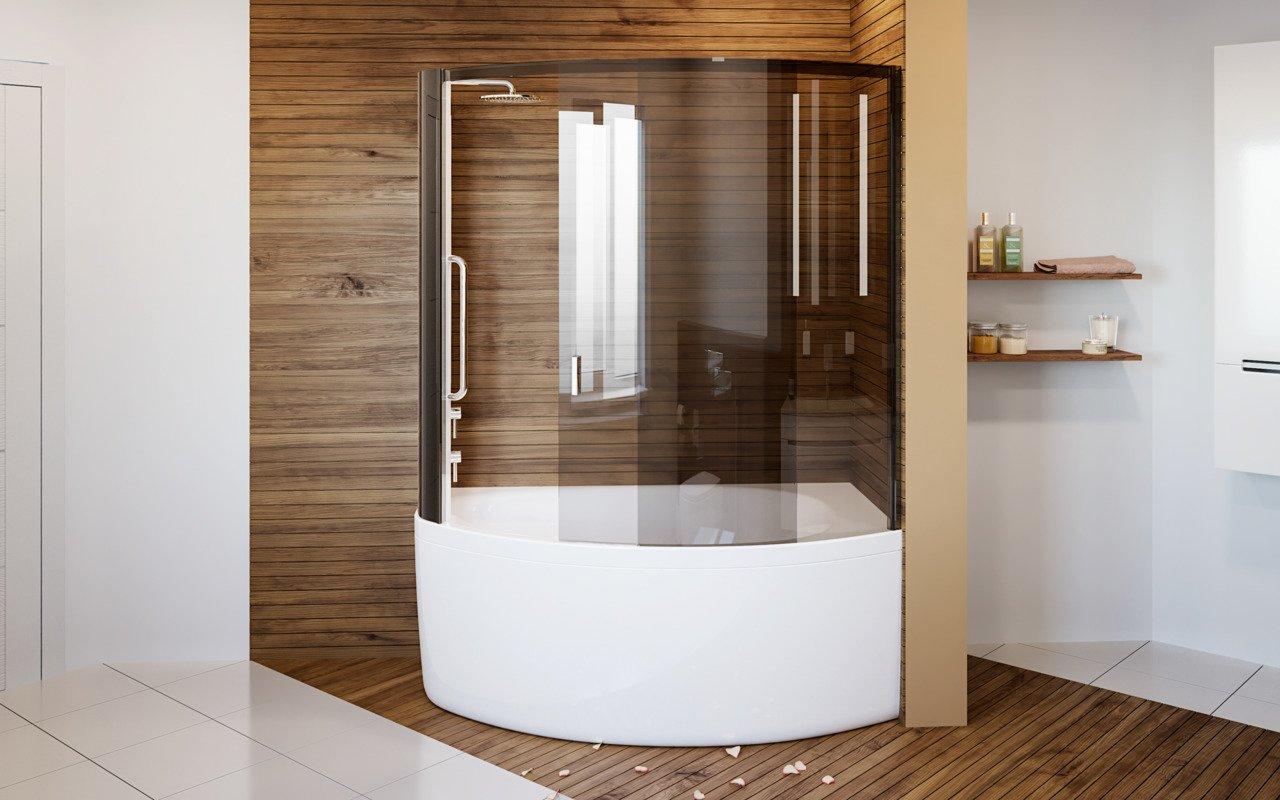 Aquatica Anette-A-L Shower Tinted Curved Glass Shower Cabin