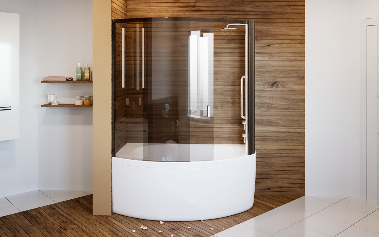 Aquatica Anette-A-R Shower Tinted Curved Glass Shower Cabin