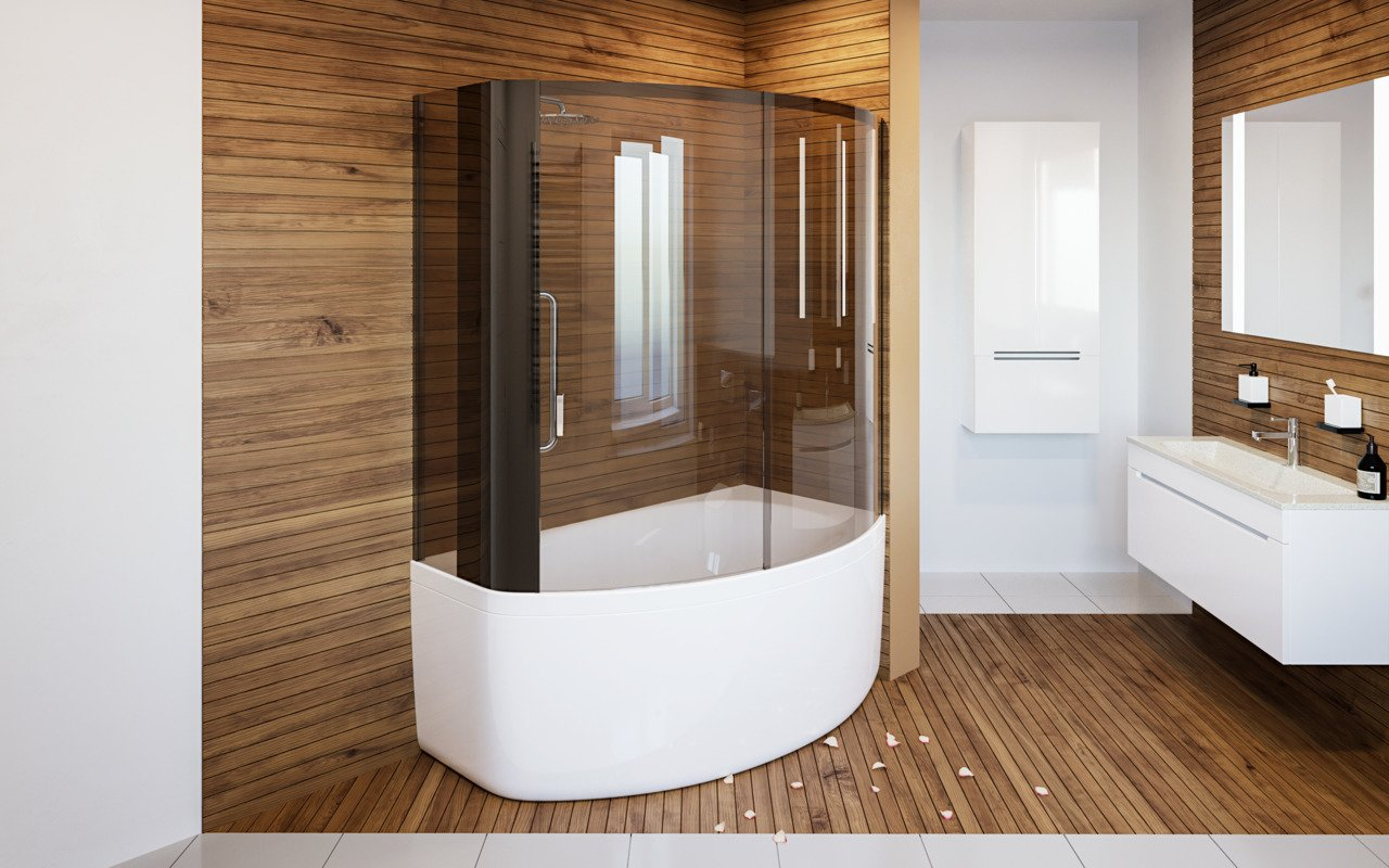 Aquatica Anette-B-L Shower Tinted Curved Glass Shower Cabin