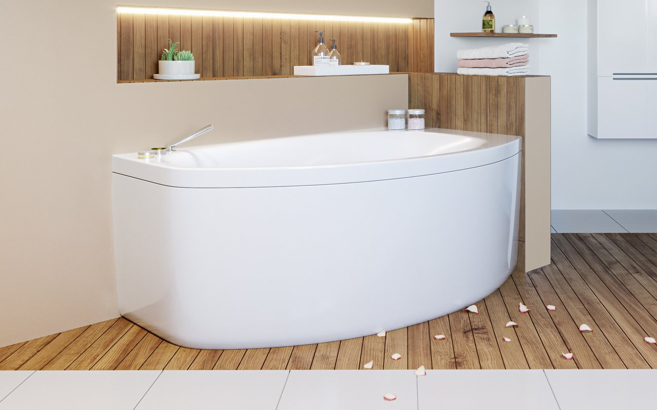 Aquatica Anette-B-L-Wht Corner Acrylic Bathtub