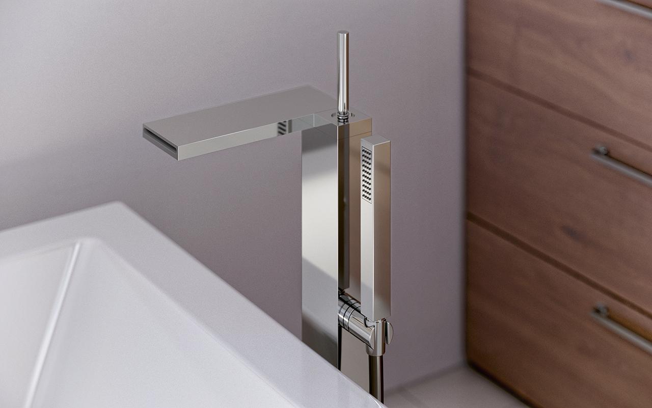 Aquatica Modul-190 Floor Mounted Bath Filler – Chrome