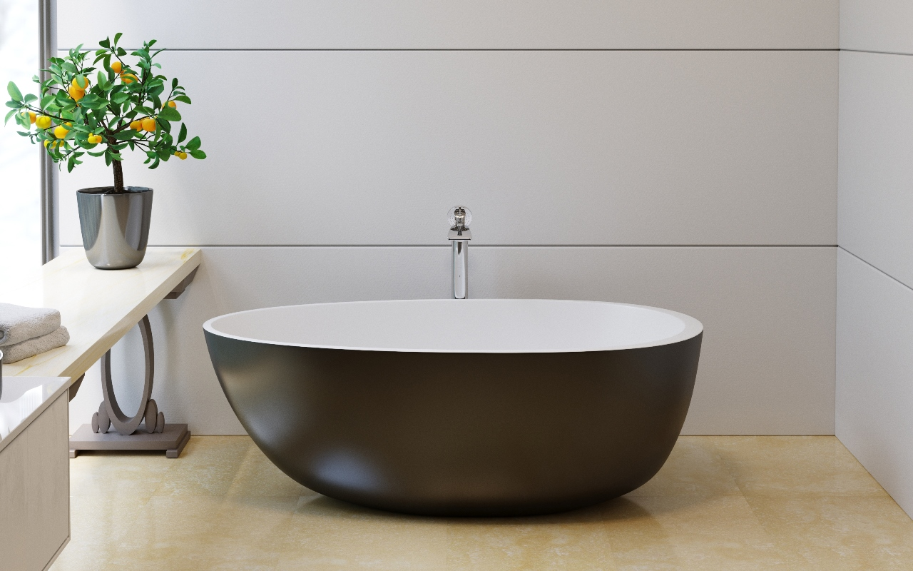 Aquatica Spoon 2 Egg Shaped Black-Wht Solid Surface Bathtub
