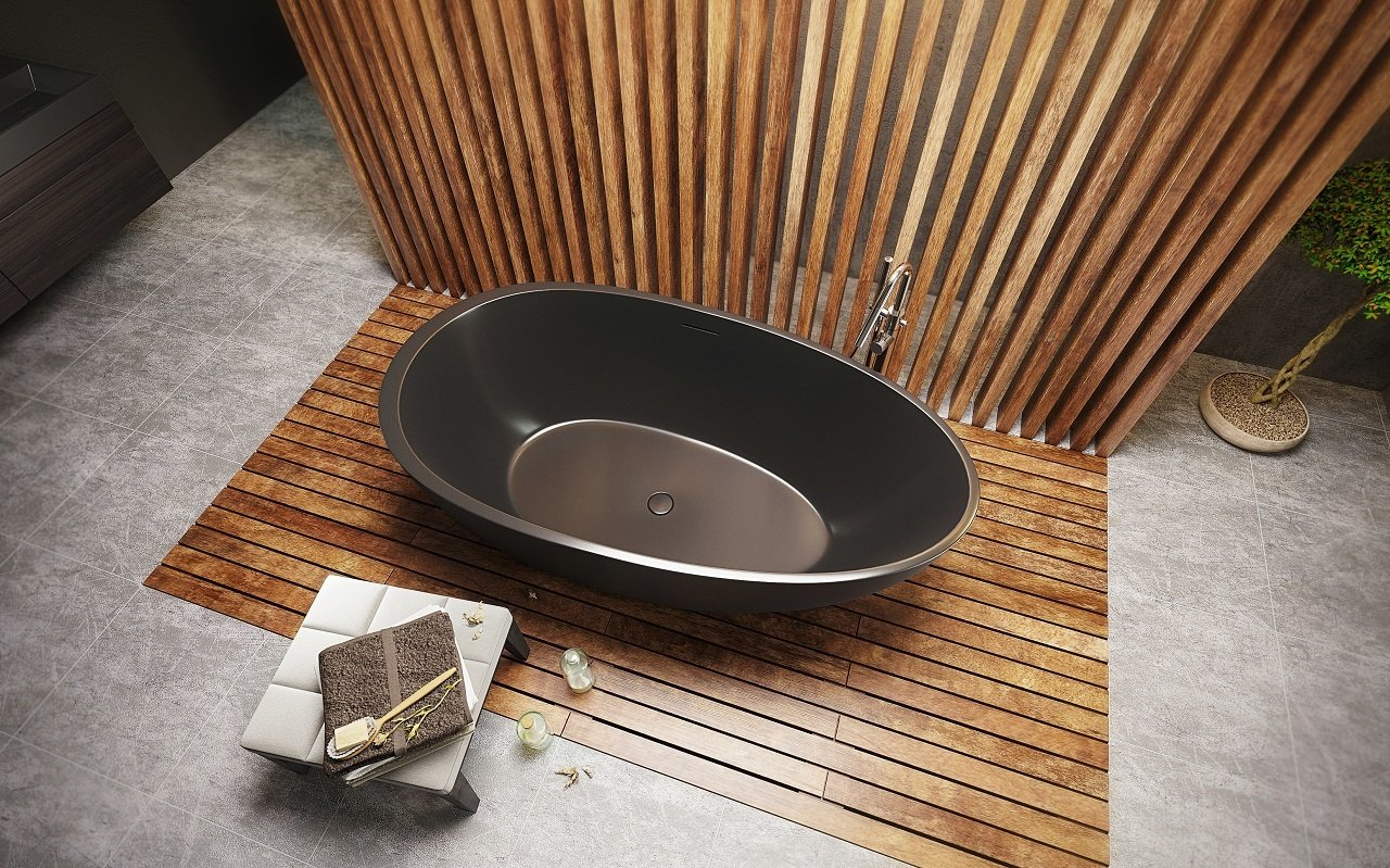 Aquatica Spoon 2 Egg Shaped Graphite Black Solid Surface Bathtub 04 (web)