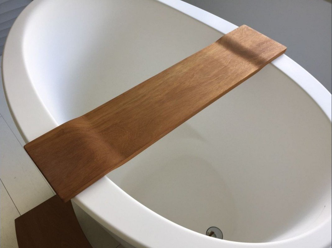Aquatica Tidal Waterproof Iroko Wood Bathtub Tray 40 1