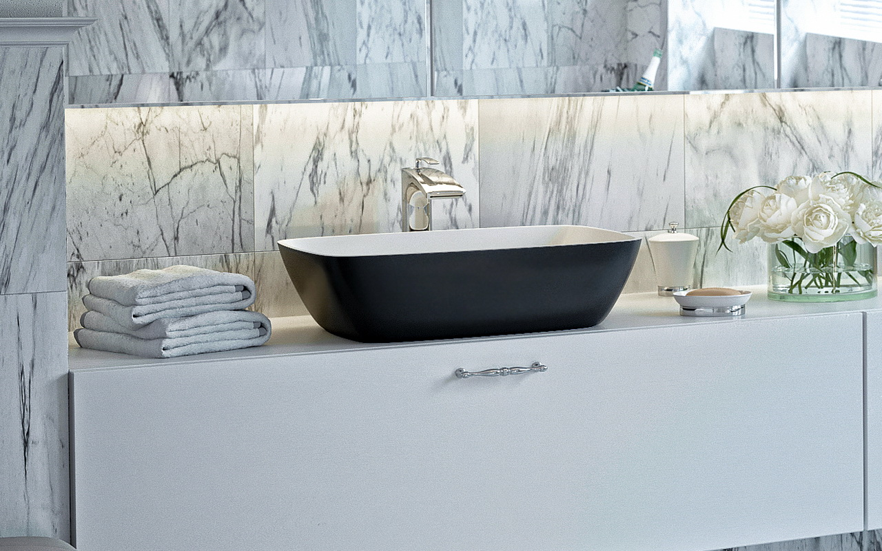 Combining Elegance With Functionality, The Aquatica Arabella Blck Wht Stone  Vessel Sink Is A Vision In Black And White Color In A Unique Rounded  Rectangle ...
