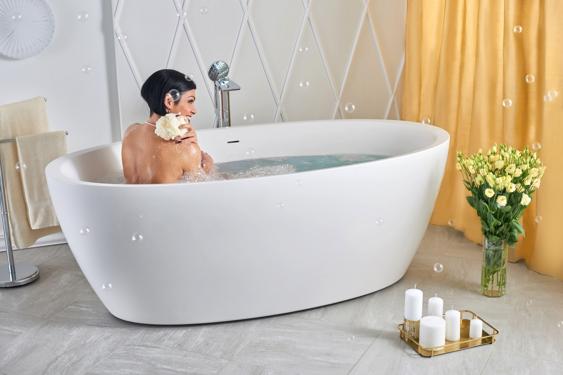 Aquatica SensualityWht Freestanding Solid Surface Bathtub