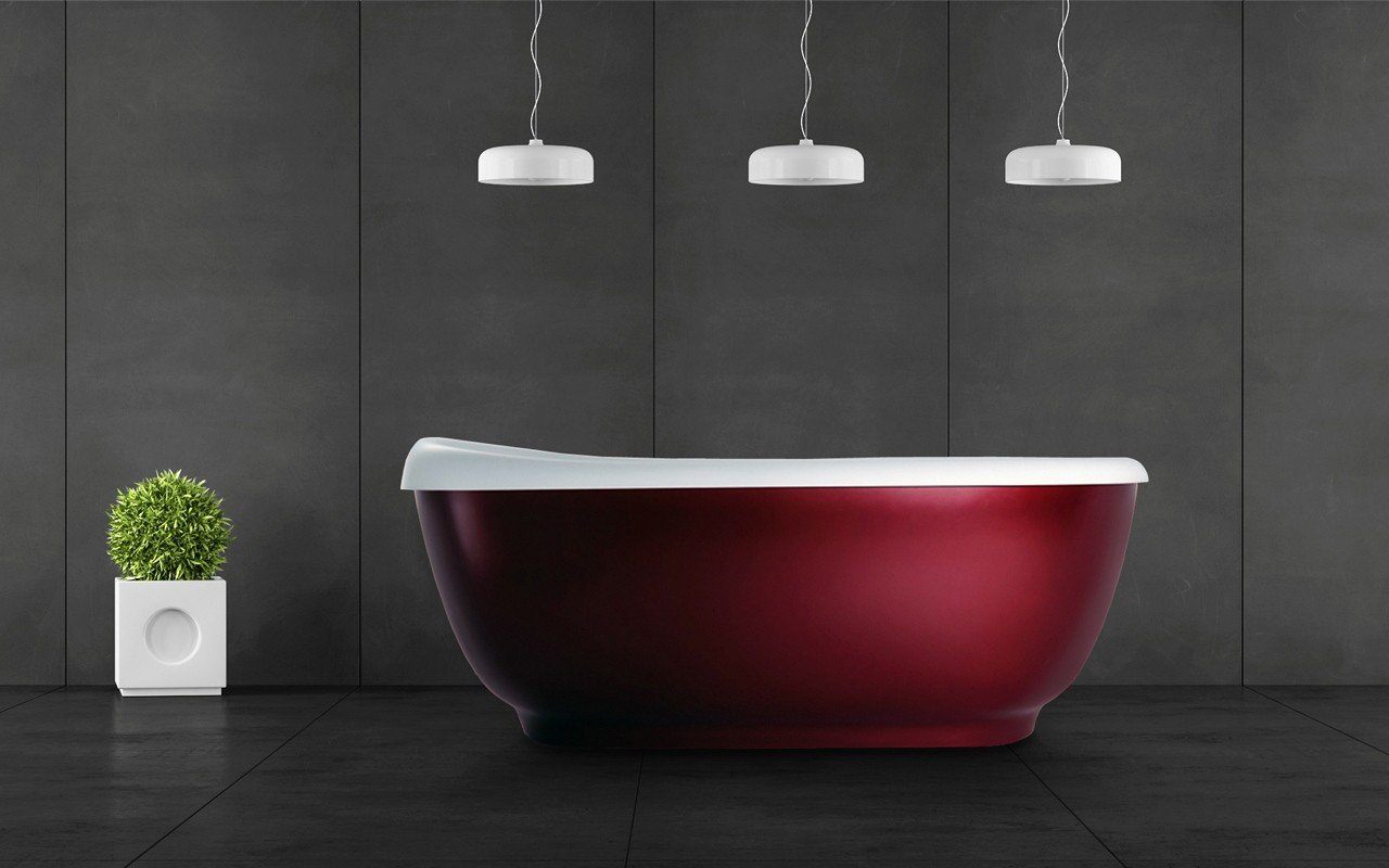 Aquatica Fido-Red™ Freestanding Solid Surface Bathtub