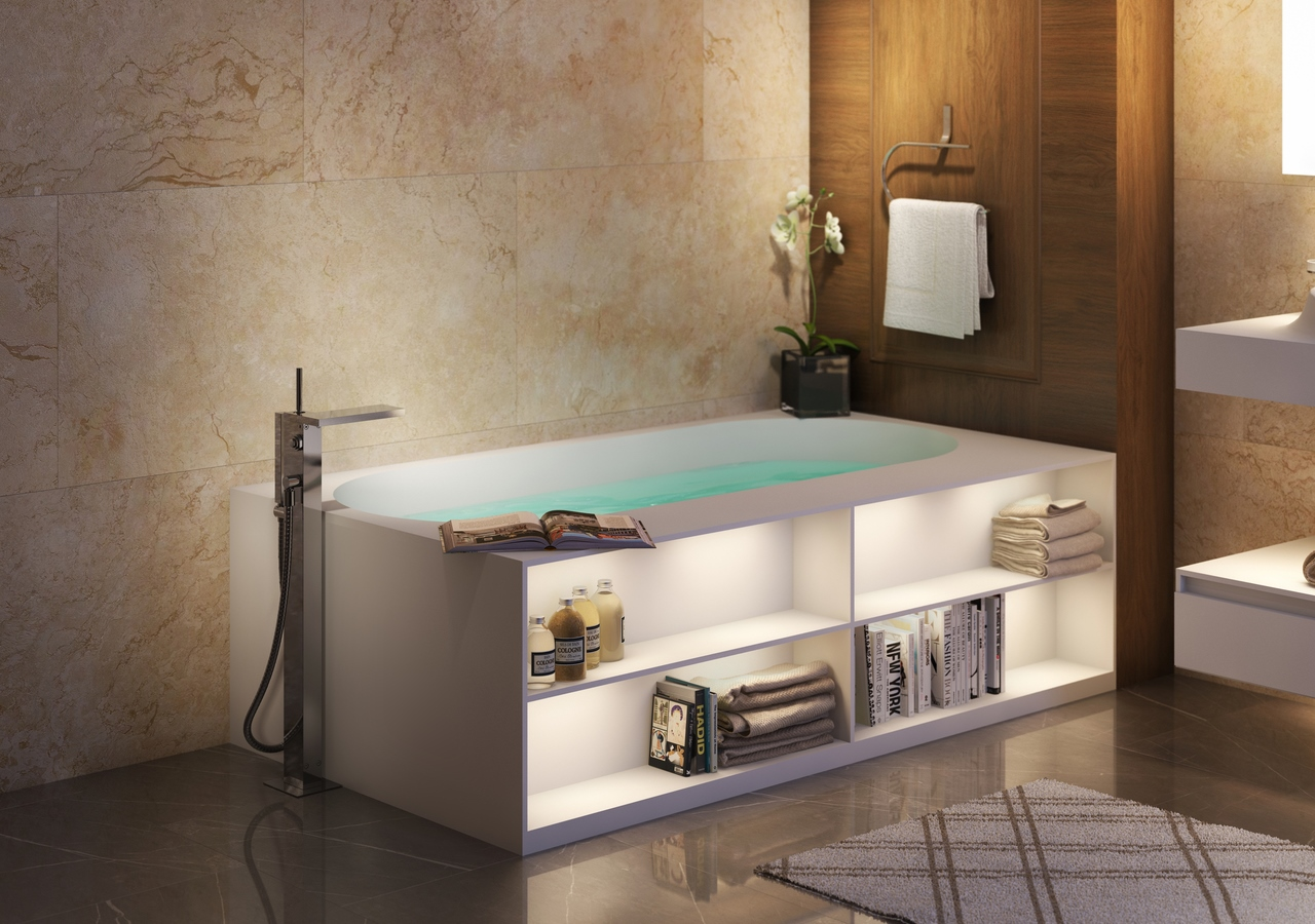 Aquatica Storage Lovers Freestanding Solid Surface Bathtub