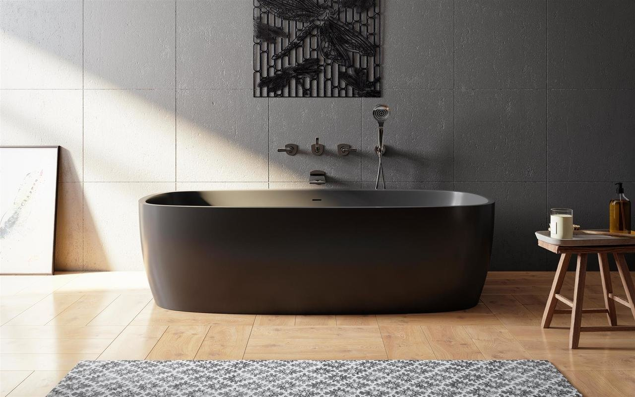 Aquatica Coletta™ Graphite Black Freestanding Solid Surface Bathtub