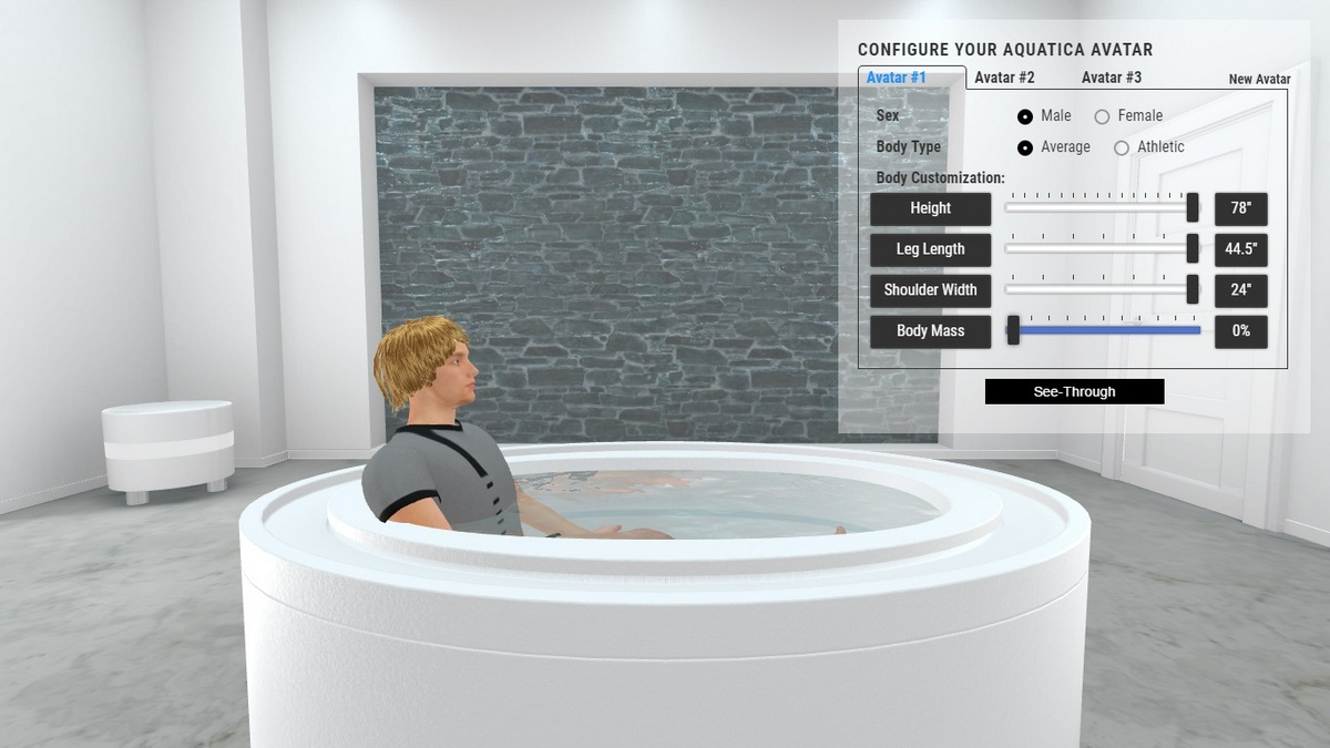 Fusion Ovatus Bathtub and Spa 3D Body Position