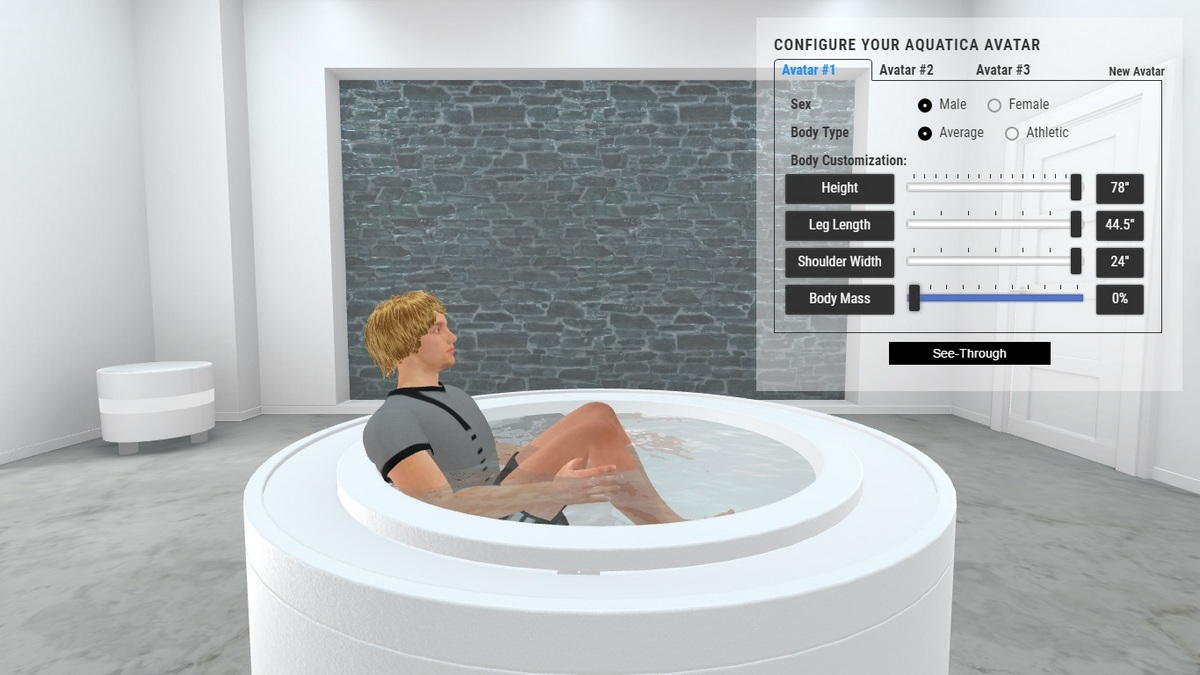Fusion Rondo Bathtub and Spa 3D Body Position