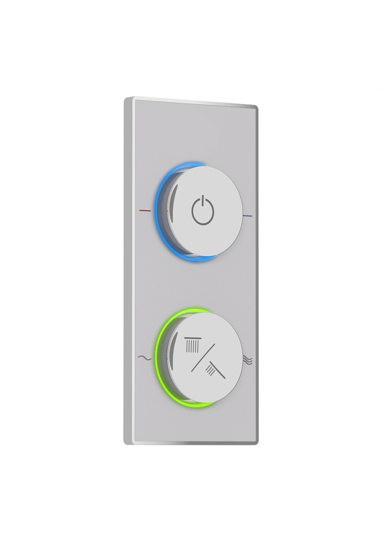 The Control Interface Is The Visible Part Of The Aquatica IQ Smart Shower  System. Mounted On Top Of A Black Or White Decorative Gorilla Glass Panels,  ...
