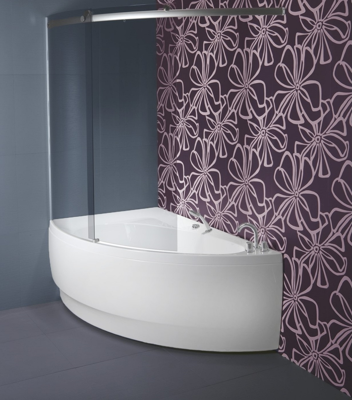 Aquatica idea l tinted curved glass shower wall for Curved glass wall