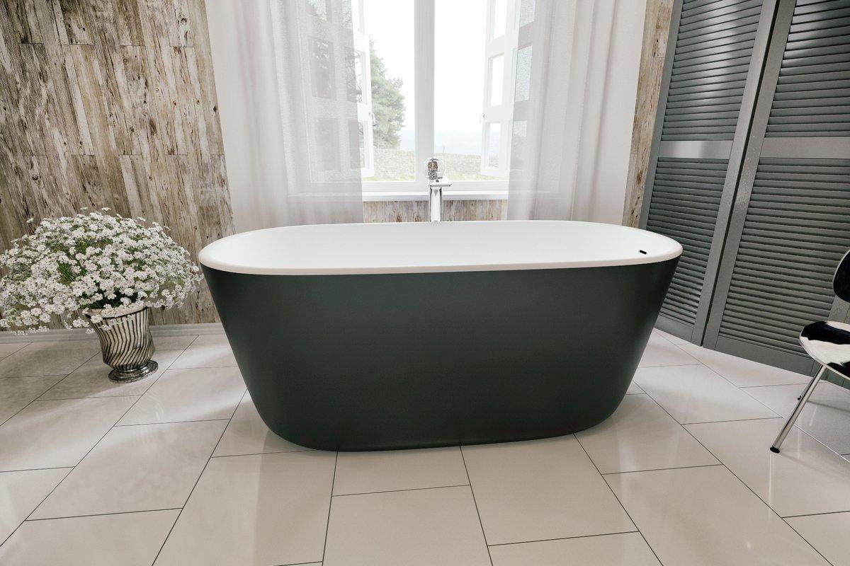 Aquatica Lullaby-Blck-Wht™ Freestanding Solid Surface Bathtub