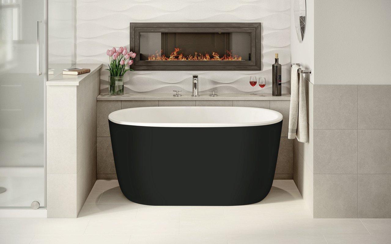 Aquatica Lullaby-Nano-Blck-Wht™ Small Freestanding Solid Surface Bathtub
