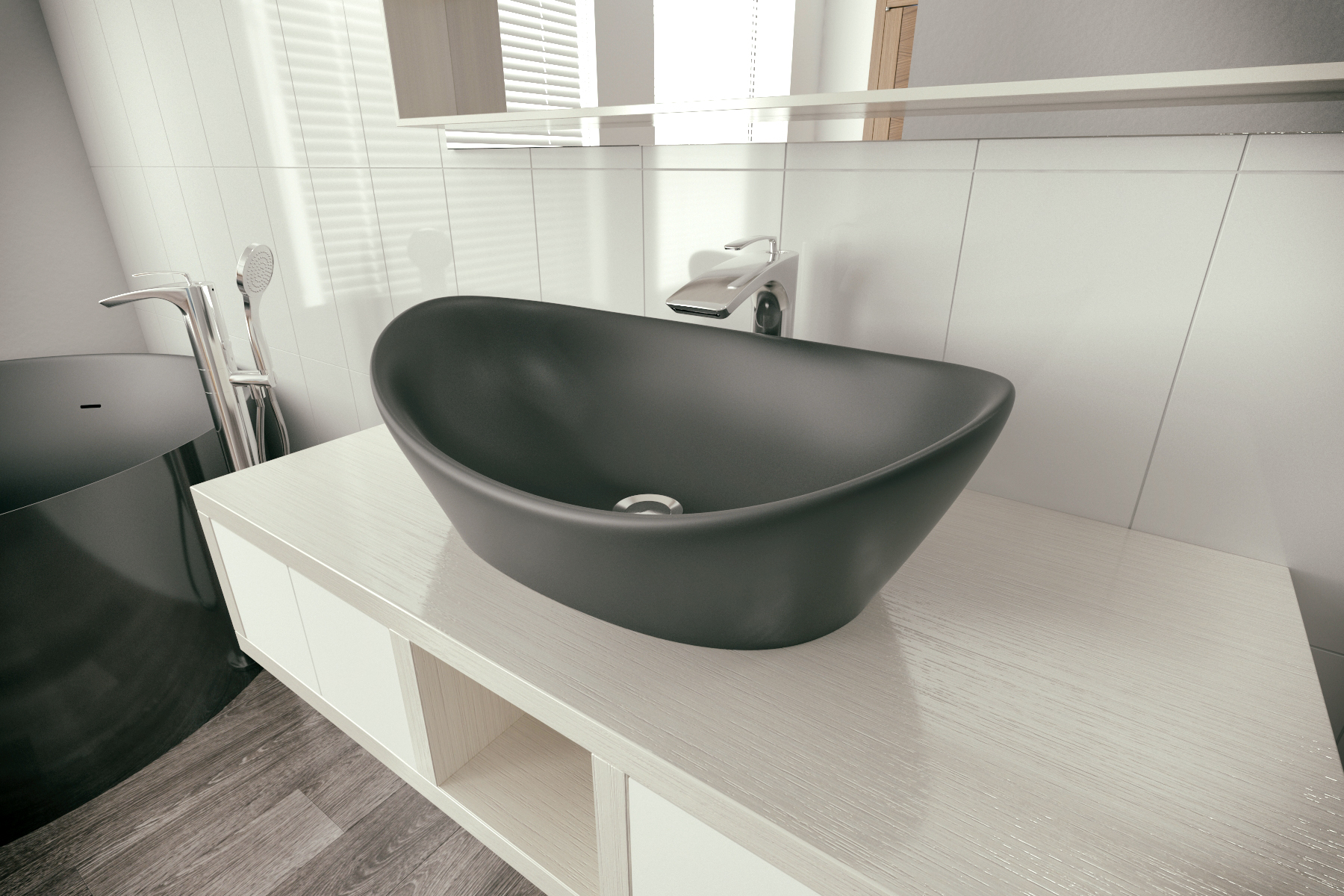 Luna Black Stone Lavatory by Aquatica (1)