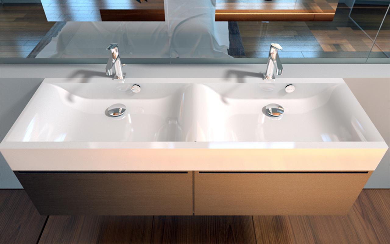 Aquatica maria double stone bathroom sink