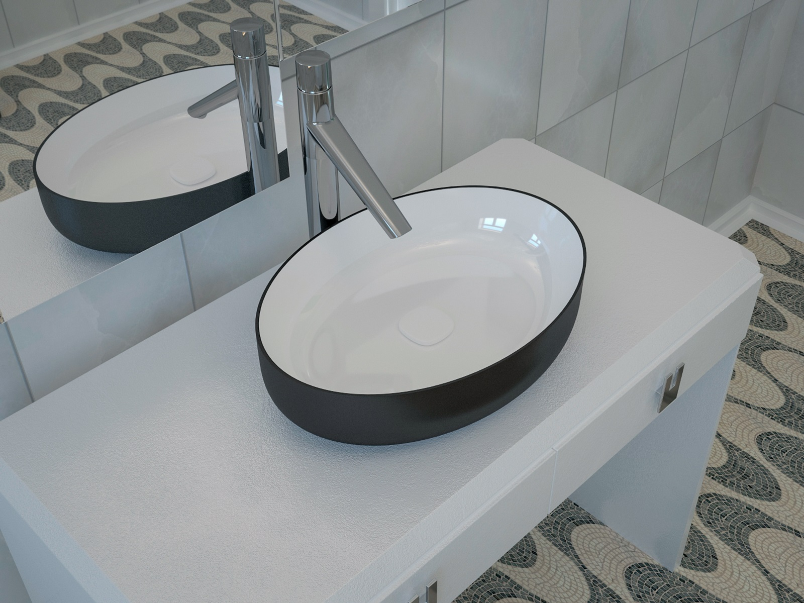 bring a sense of and modernized style into your bathroom with latest black and white oval ceramic bathroom vessel sink