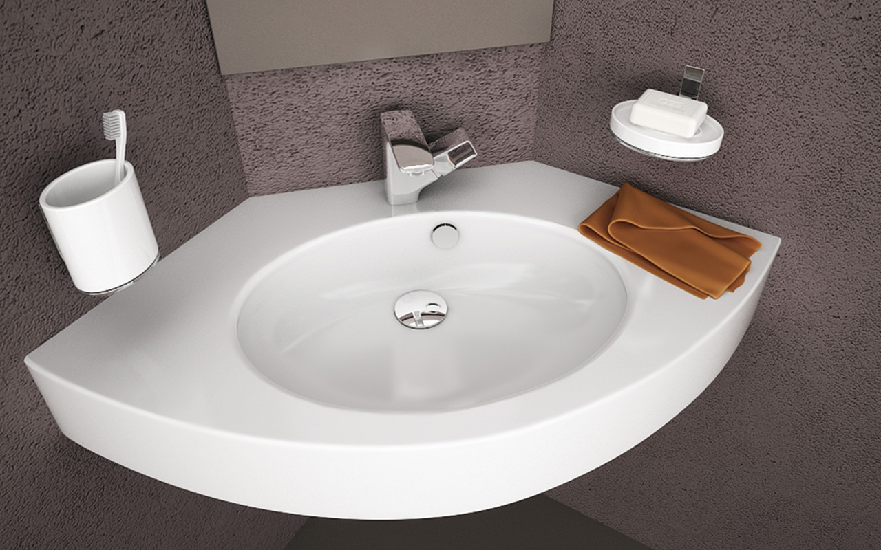 Wheelchair Accessible Wall Mounted Corner Basin Made Of Ecomarmor A Glossy Gel Coated Cast Marble Composite Stone Solid One Piece Construction For