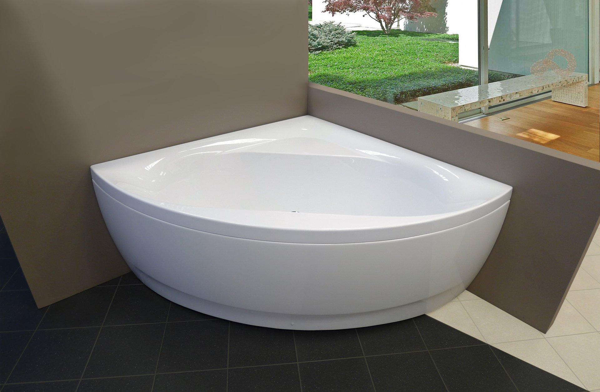 Aquatica Olivia Wht Acrylic Corner Bathtub
