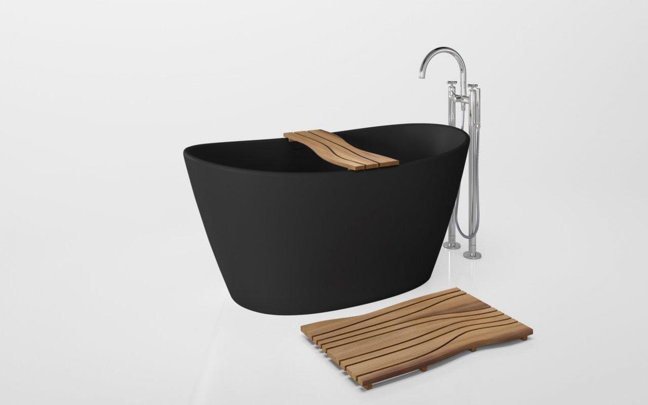 Onde Waterproof Iroko Wood Bathtub Tray on Purescape 748 Black 01 (web)