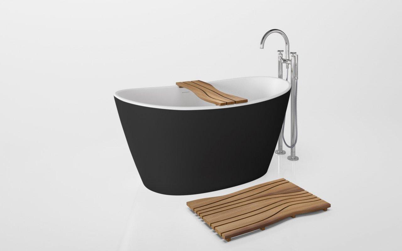 Onde Waterproof Iroko Wood Bathtub Tray on Purescape 748 Black White 01 (web)