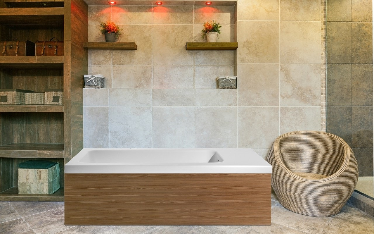 Aquatica Pure 2L Back To Wall Solid Surface Bathtub with Light ...