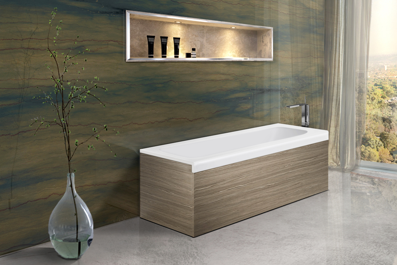 Aquatica Pure 1L Back To Wall Solid Surface Bathtub with Light ...